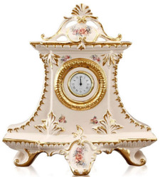 Casa Padrino Art Nouveau Table Clock Cream / Gold / Multicolor 43 x 16 x H. 45 cm - Baroque & Art Nouveau Decoration Accessories