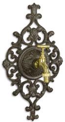 Casa Padrino Jugendstil Wasserhahn mit Zierrosette Dunkelbraun / Messingfarben 18,9 x H. 34,6 cm - Gartendeko