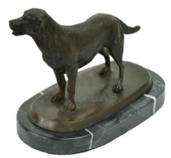 Casa Padrino Luxury Bronze Sculpture Dog Labrador Bronze / Black 23 x 13 x H. 17 cm - Deco Bronze Figure with Marble Base