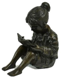 Casa Padrino luxury bronze figure sitting girl with book bronze / black 19 x 27 x H. 30 cm - Bronze Sculpture - Deco Figure - Deco Accessories