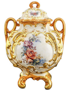 Casa Padrino baroque ceramic vase with lid and 2 handles White / gold / multicolor Ø 12 x H. 34 cm - Flower Vase in Baroque Style