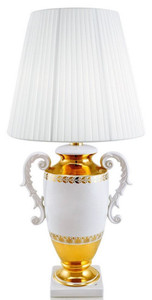 Casa Padrino baroque table lamp with 2 handles white / gold Ø 40 x H. 78 cm - Baroque Style Ceramic Lamp - Luxury Quality