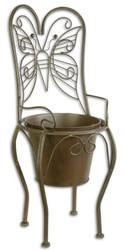 Casa Padrino Art Nouveau Flowerpot Brown 24.1 x 25.5 x H. 59 cm - Metal Planter in Garden Chair Design - Garden & Terraces Decoration