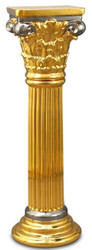Casa Padrino Baroque Ceramic Column Gold / Silver 28 x 28 x H. 88 cm - Baroque Furniture