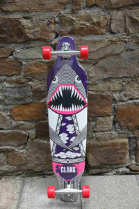 Clans Beginner Longboard Freeride Cruiser Complete Flying Dinoshark Purple 40.0 x 9.5 inch - Stock Ware with Slight Scratches