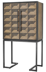 Casa Padrino luxury wine cabinet with 2 doors brown / dark brown / black 95 x 58 x H. 168.5 cm - Bar Furniture - Luxury Quality