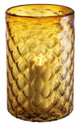 Casa Padrino luxury glass hurricane yellow Ø 27 x H. 44 cm - Hotel & Restaurant Decoration Accessories