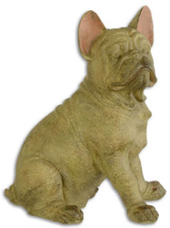 Casa Padrino Decorative Sculpture French Bulldog Beige / Pink 19.5 x 28.1 x H. 35.4 cm - Synthetic Resin Figurine