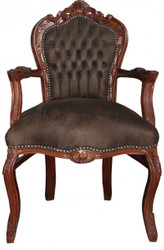 Casa Padrino Baroque Dinner Chair with armrests Brown / Brown Leather Look