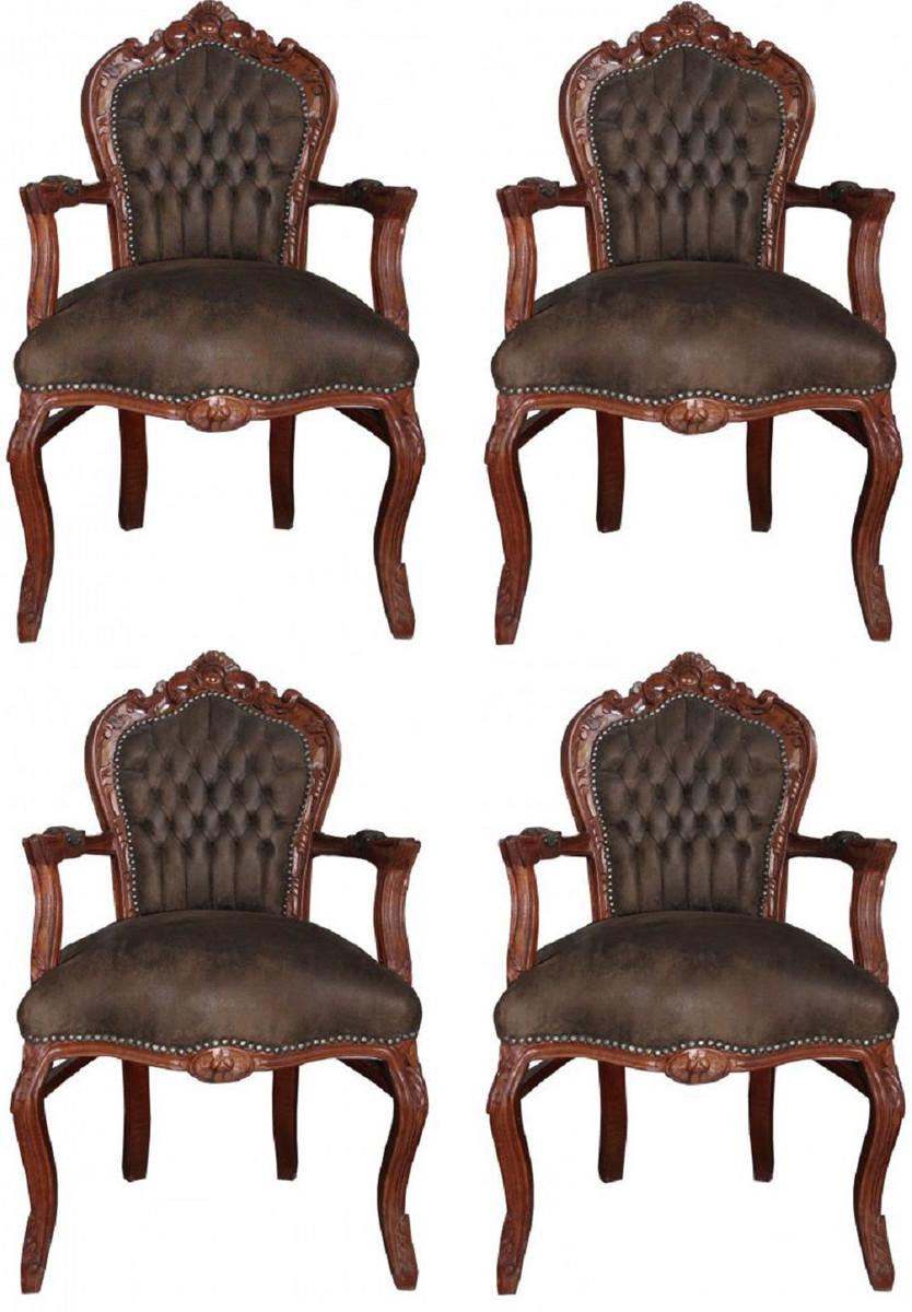 Casa Padrino Barock Esszimmer Set Braun / Braun Lederoptik 53 x 57 x H. 108 cm - 4 handgefertigte Esszimmerstühle mit Armlehnen - Barockmöbel