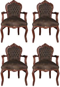 Casa Padrino Barock Esszimmer Set Braun / Braun Lederoptik 53 x 57 x H. 108 cm - 4 handgefertigte Esszimmerstühle mit Armlehnen - Barockmöbel – Bild 1