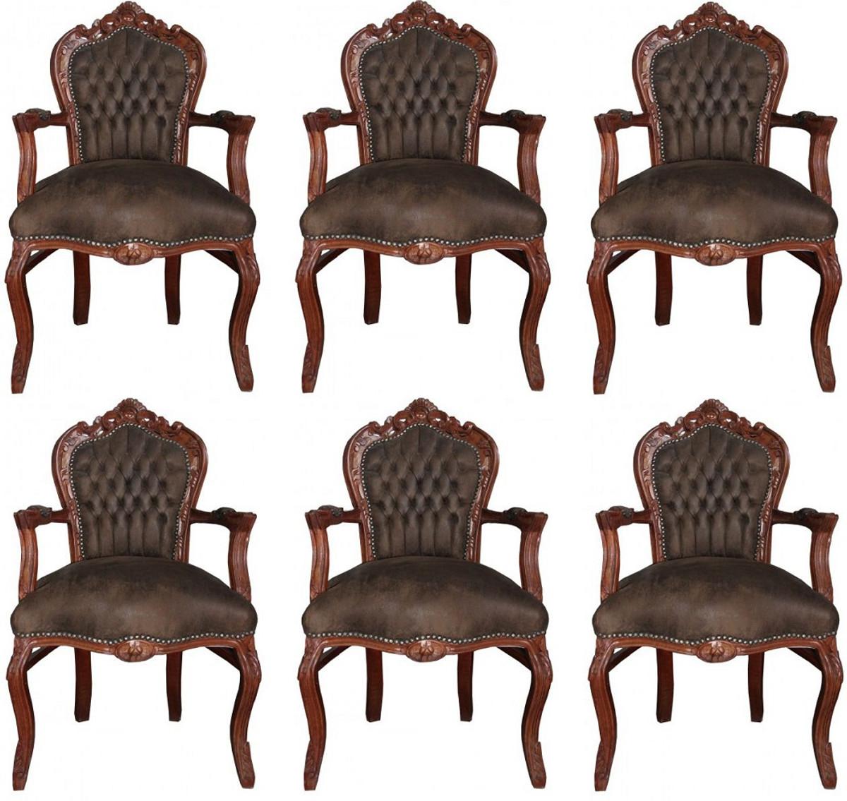 Casa Padrino Barock Esszimmer Set Braun / Braun Lederoptik 53 x 57 x H. 108 cm - 6 handgefertigte Esszimmerstühle mit Armlehnen - Barockmöbel