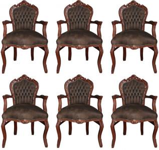 Casa Padrino Barock Esszimmer Set Braun / Braun Lederoptik 53 x 57 x H. 108 cm - 6 handgefertigte Esszimmerstühle mit Armlehnen - Barockmöbel – Bild 1