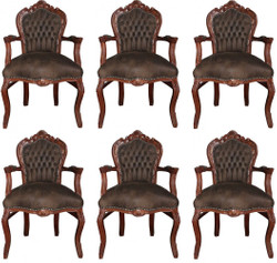 Casa Padrino Baroque Dining Room Set Brown / Brown Leather Look 53 x 57 x H. 108 cm - 6 Handmade Dining Room Chairs with Armrests - Baroque Furniture