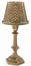 Casa Padrino luxury brass tealight holder with lampshade vintage brass Ø 16 x H. 36 cm - Deco Accessories