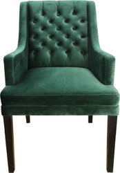 Casa Padrino designer dining chair with armrests Green / Black - Hotel furniture - beech wood - Chesterfield Design