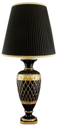 Casa Padrino Baroque Ceramic Table Lamp with Swarovski Crystal Glass Black / Gold Ø 30 x H. 62 cm - Baroque Furniture