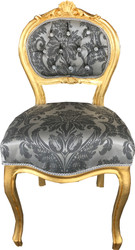 Casa Padrino Baroque Ladies Chair Gray Pattern / Gold with Bling Bling rhinestones - dressing table chair