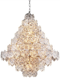 Casa Padrino luxury chandelier silver / clear glass Ø 80 x H. 95 cm - Hotel & Restaurant Chandelier - Luxury Quality
