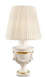 Casa Padrino Baroque Ceramic Table Lamp Ivory / Gold Ø 35 x H. 60 cm - Baroque Living Room Lamp