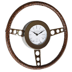 Casa Padrino Vintage Style Wall Clock Steering Wheel Aluminum with Genuine Leather 39 x 39 cm - Wall Clock