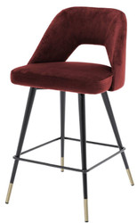 Casa Padrino luxury bar stool bordeaux red / black / brass 50 x 50 x H. 90 cm - Bar Stool with Backrest