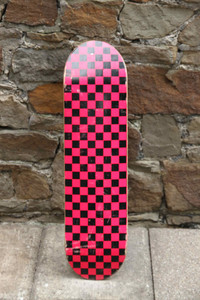 Checkered Skateboard Deck Pink 7.625 inch - Stock Ware with Slight Scratches