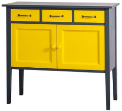 Casa Padrino country style dresser with 3 drawers and 2 doors dark gray / yellow 100 x 41 x H. 90 cm - Country Style Furniture