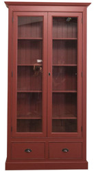 Casa Padrino country style living room display cabinet bordeaux red 109 x 39 x H. 210 cm - Living Room Cabinet with 2 Glass Doors and 2 Drawers