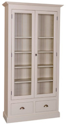 Casa Padrino country style living room display cabinet gray 109 x 39 x H. 210 cm - Living Room Cabinet with 2 Glass Doors and 2 Drawers