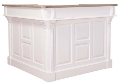 Casa Padrino country style bar counter white / natural 140 x 140 x H. 107 cm - Bar Counter with 2 Drawers - Country Style Furniture
