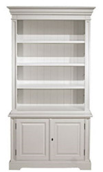 Casa Padrino Country Style Bookcase White 118 x 53 x H. 223 cm - Living Room Cabinet with 2 Doors - Country Style Furniture