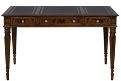 Casa Padrino Luxury Art Nouveau Mahogany Desk with 3 Drawers Dark Brown / Black / Gold 126 x 73 x H. 75 cm - Office Furniture - Luxury Quality
