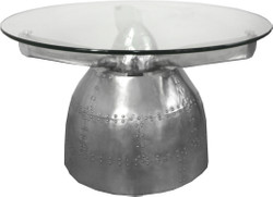 Casa Padrino Luxury Aluminum Coffee Table Circa 95 x H 50 cm - Art Deco Vintage Aviator Furniture Table