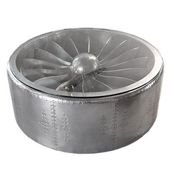 Casa Padrino Luxury Aluminum Coffee Table Circa 128 x H 42 cm Aircraft Turbine - Art Deco Vintage Aviator Furniture Table