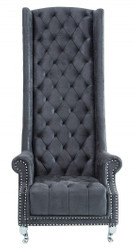 Casa Padrino Chesterfield High Back Armchair Gray - Throne King High Back Armchair - Modern Baroque High Back