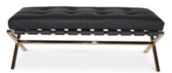 Casa Padrino Luxury Bench Black / Rose Gold 120 x 45 x H. 40 cm - Stainless Steel Bench with Italian Leather - Luggage Rack - Hotel Furniture & Accessories