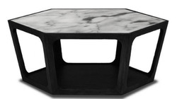 Casa Padrino luxury coffee table black / white 90 x 78 x H. 35 cm - Living Room Table with Marble Top - Living Room Furniture - Luxury Furniture
