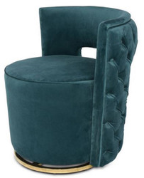 Casa Padrino Luxury Chesterfield Swivel Armchair Dark Green 65 x 58 x H. 69 cm - Velvet Armchair - Luxury Furniture
