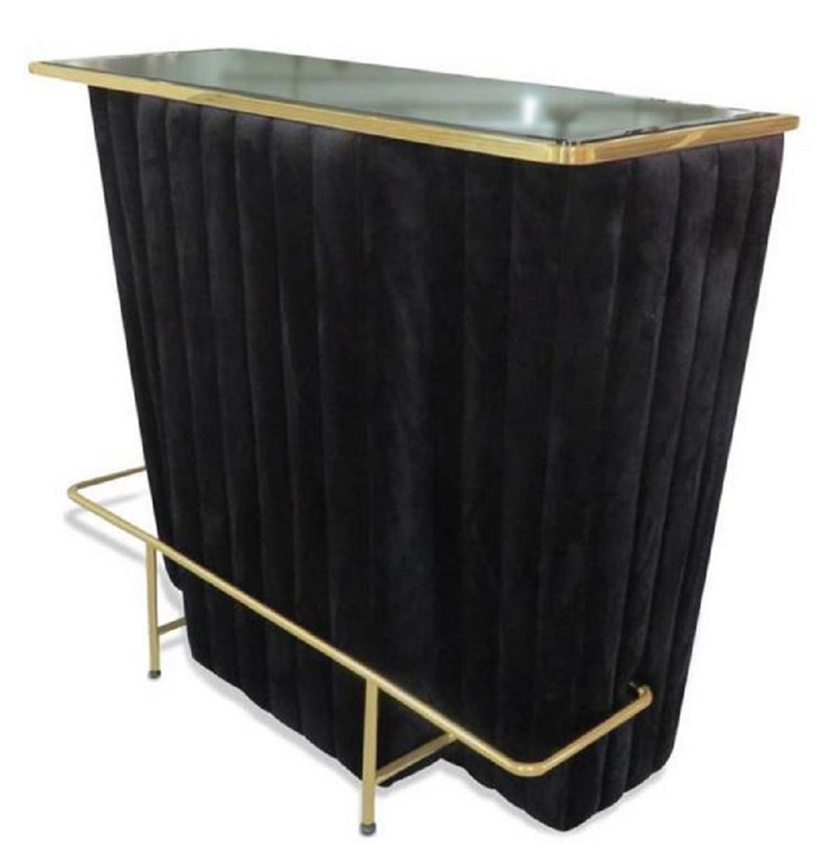 Bancone Bar Per Casa casa padrino bancone bar di lusso nero / oro 120 x 48 x h. 105 cm - bancone  bar con piano in vetro e poggiapiedi - armadietto bar - mobile bar -