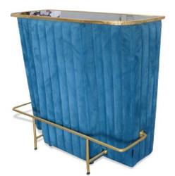 Casa Padrino Luxus Bartresen Blau / Gold 120 x 48 x H. 105 cm - Theke mit Glassplatte und Fußablage - Barschrank - Barmöbel - Luxus Qualität