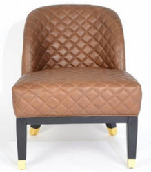 Casa Padrino luxury leather armchair brown / black / gold 62 x 73 x H. 79 cm - Living Room Furniture - Genuine Leather Furniture