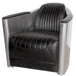 Casa Padrino Art Deco Aluminum Genuine Leather Armchair Black / Silver 74.5 x 94 x H. 78 cm - Club Armchair - Lounge Armchair - Airplane Aviator Furniture