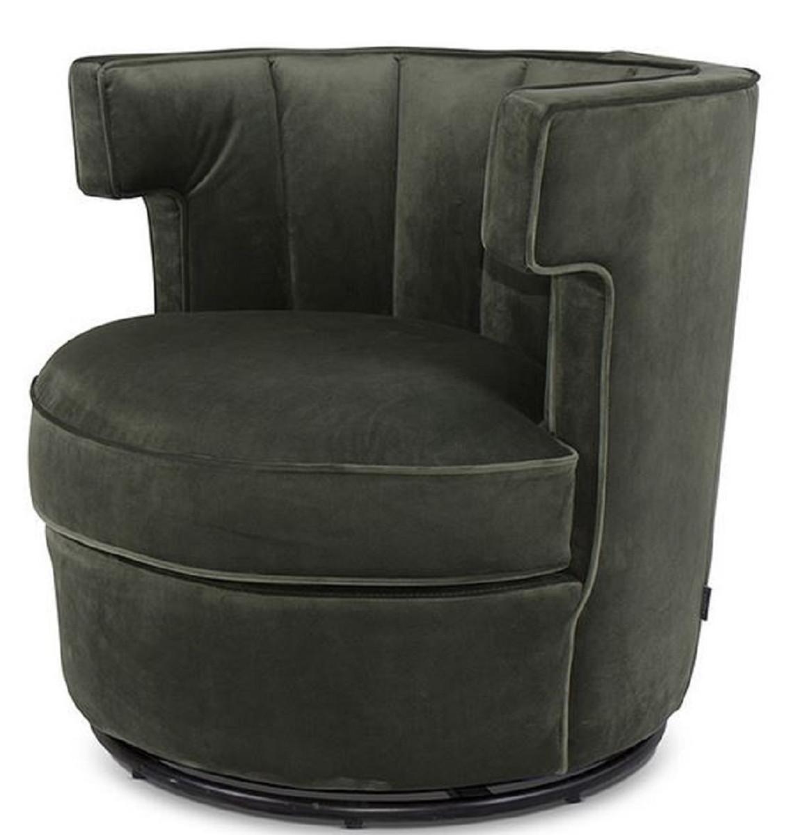 Casa Padrino luxury swivel armchair dark green 10 x 10 x H. 10 cm   Round  Living Room Armchair   Velvet Armchair   Living Room Furniture