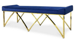 Casa Padrino Luxury Bench Blue / Gold 152 x 65 x H. 50 cm - Padded Velvet Bench with Stainless Steel Legs - Luxury Quality