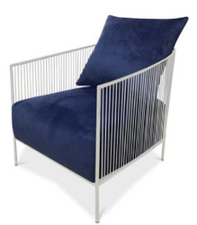Casa Padrino luxury armchair blue / silver 69 x 78 x H. 88 cm - Stainless Steel Armchair with Fine Velvet Fabric - Designer Furniture