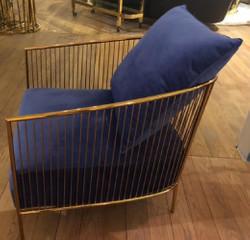 Casa Padrino luxury armchair blue / gold 69 x 78 x H. 88 cm - Stainless Steel Armchair with Fine Velvet Fabric - Designer Furniture