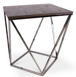 Casa Padrino designer side table brown / silver 57 x 57 x H. 60 cm - Table with Stained Oak Veneer Plate - Living Room Furniture - Luxury Quality
