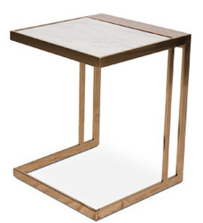 Casa Padrino designer side table rose gold / white 40 x 40 x H. 50 cm - Stainless Steel Table with Marble Plate