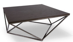 Casa Padrino designer coffee table dark brown / silver 100 x 100 x H. 38 cm - Luxury Coffee Table with Stained Oak Veneer Plate - Living Room Furniture